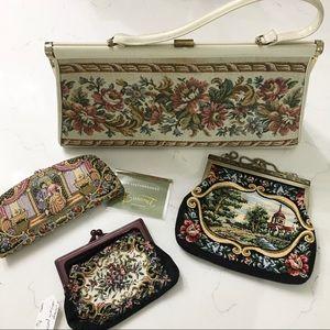 Vintage • set of 4 tapestry handbags / wallet •